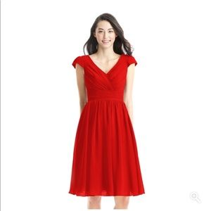 "Azazie Kierra Chiffon Dress in ""Red"""